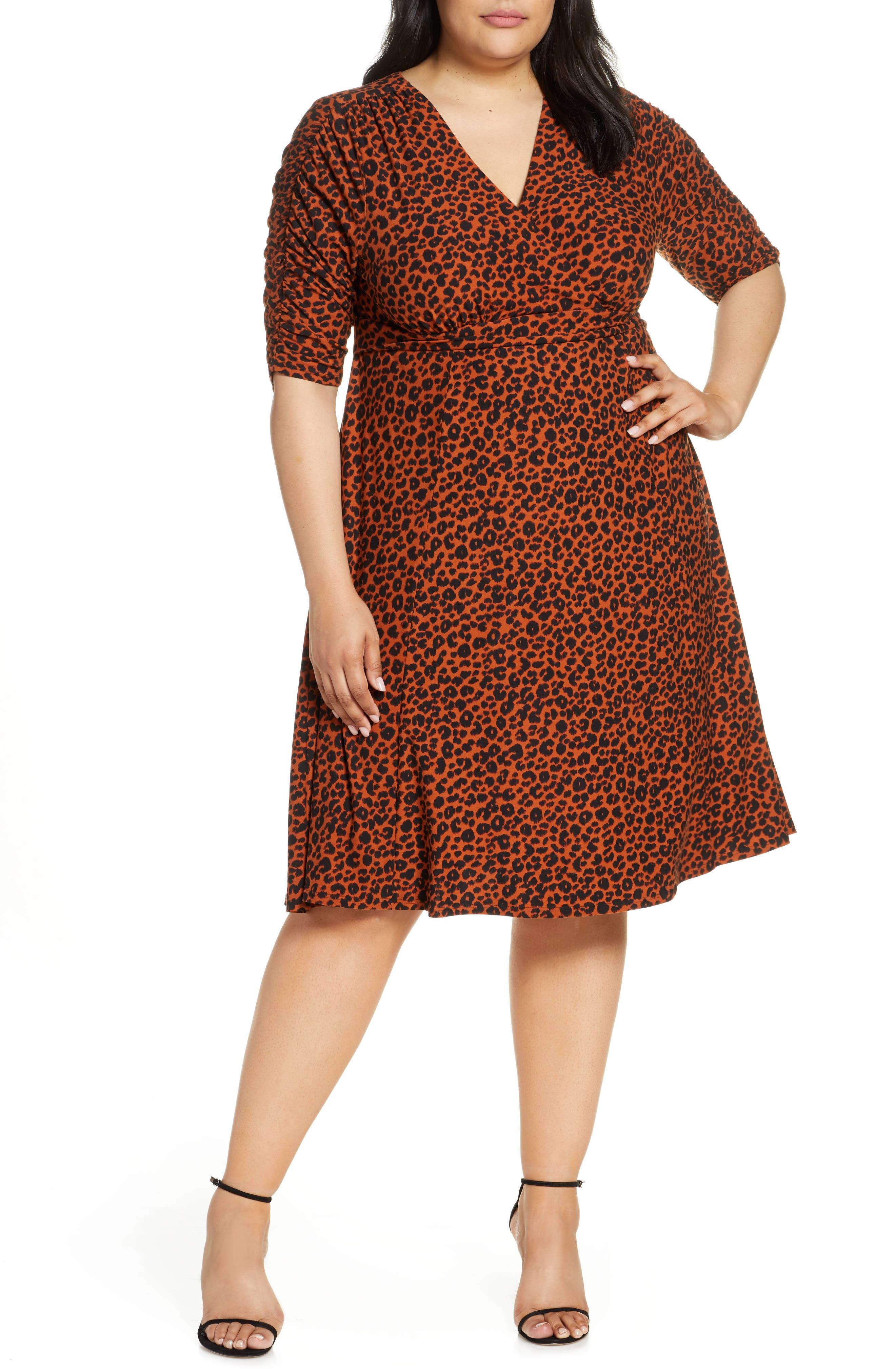 Plus Size Kiyonna Gabriella Print Jersey A-Line Dress, Brown