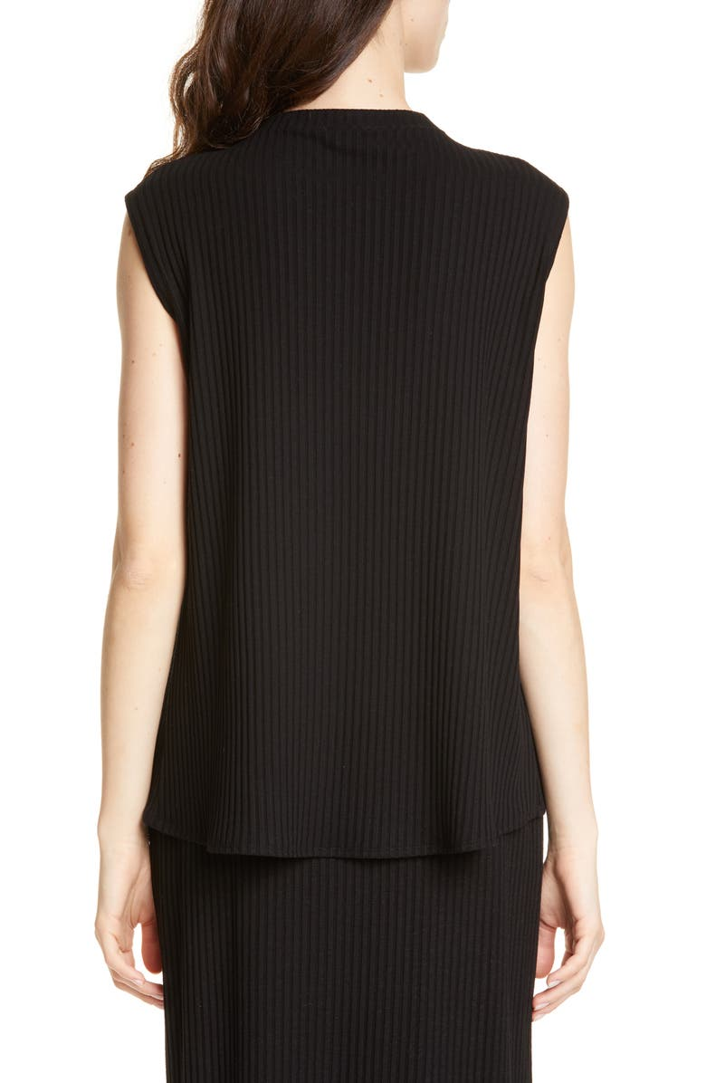 EILEEN FISHER Rib Mock Neck Tank, Main, color, BLACK