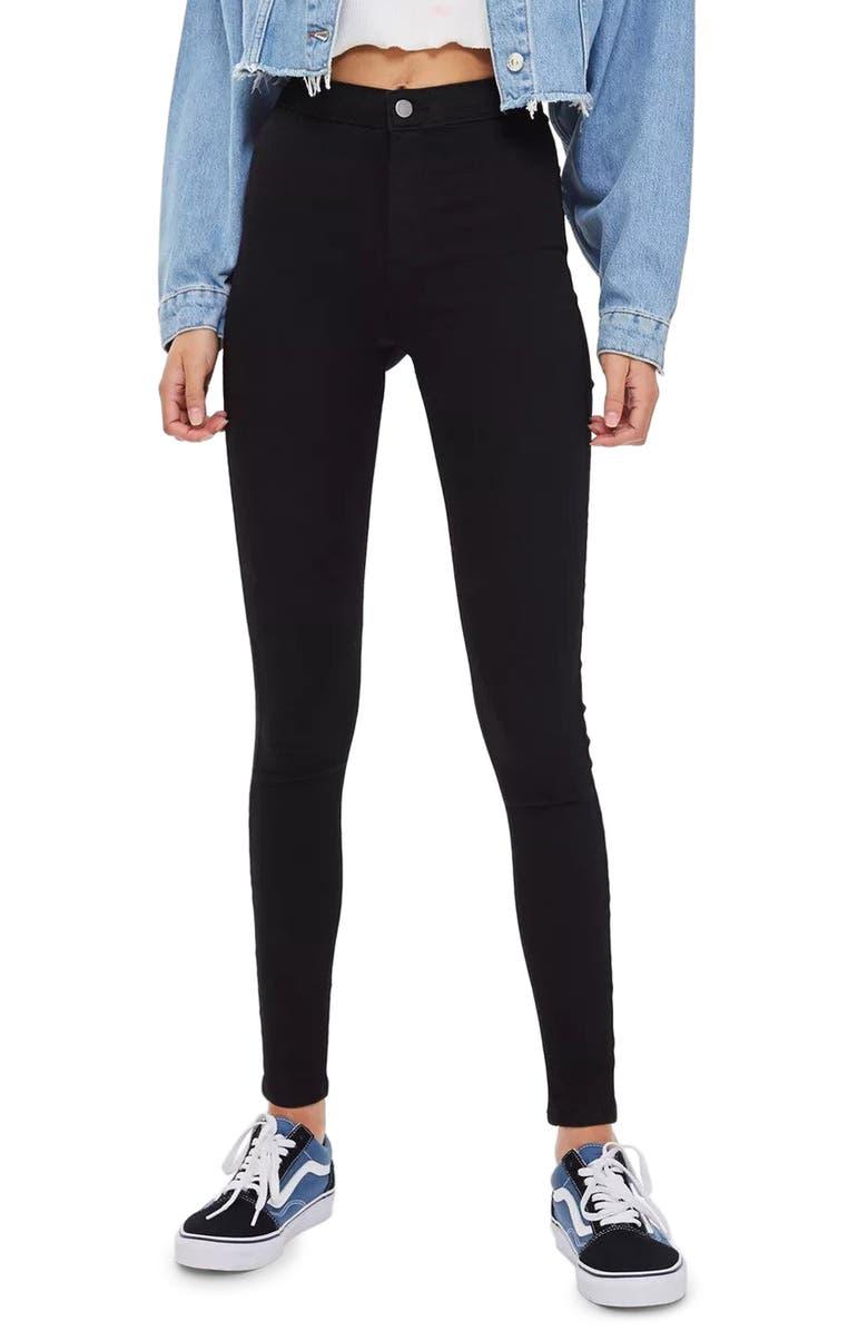 TOPSHOP Joni High Waist Jeans, Main, color, BLACK