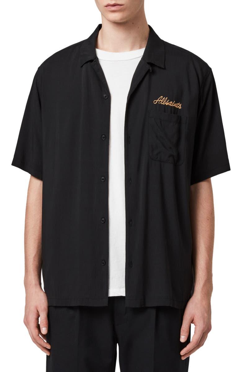 ALLSAINTS Sibu Lion Print Short Sleeve Button-Up Camp Shirt, Main, color, JET BLACK