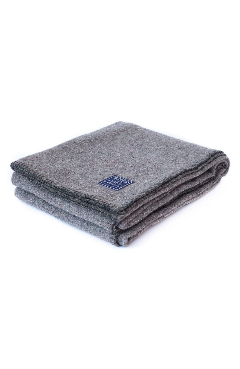 FARIBAULT WOOLEN MILL Pure & Simple Utility Blanket, Main, color, GRAY