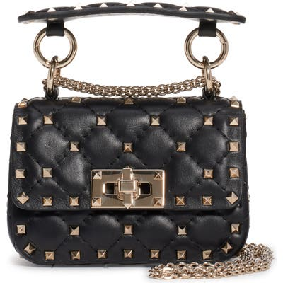 Valentino Garavani Micro Spike It Rockstud Lambskin Leather Top Handle Bag - Black