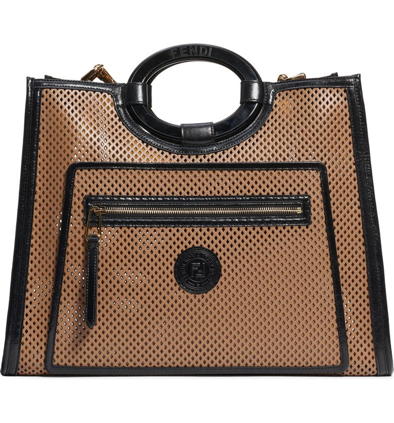 FENDI Medium Runaway Perforated Leather Shopper, Main, color, 232