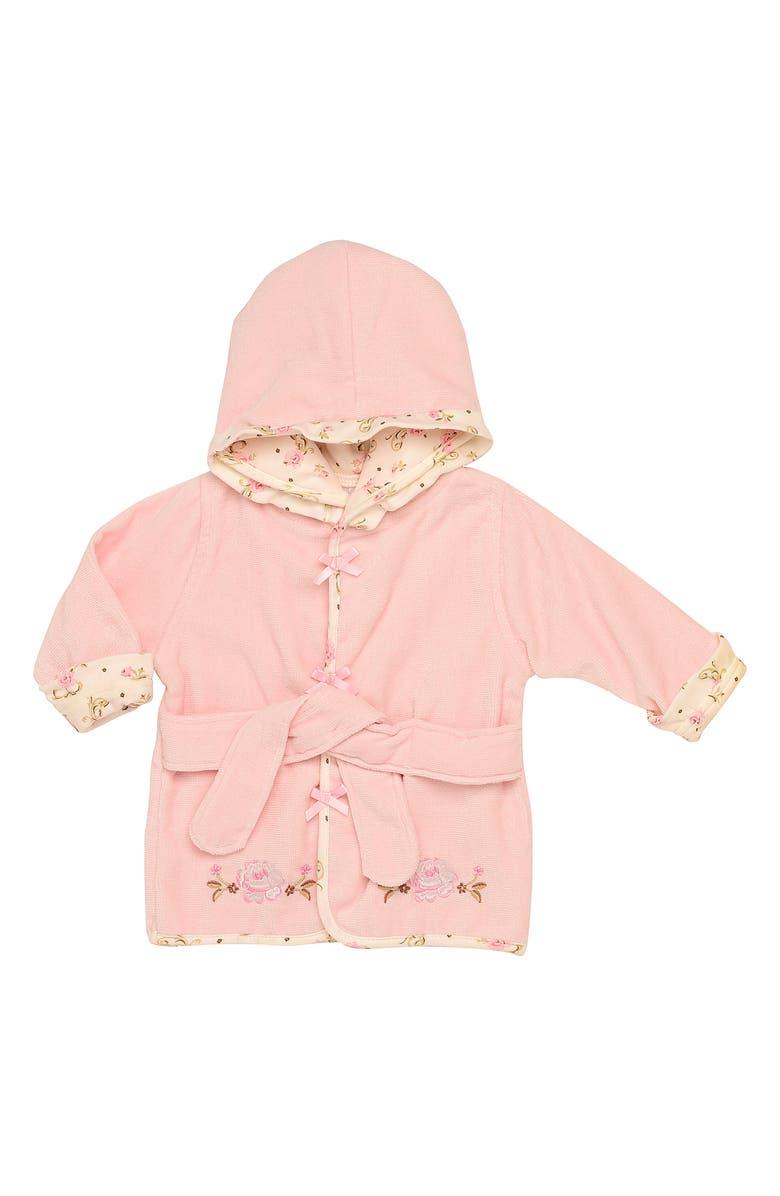 LITTLE ME Rose Velour Hooded Bath Robe, Main, color, 650