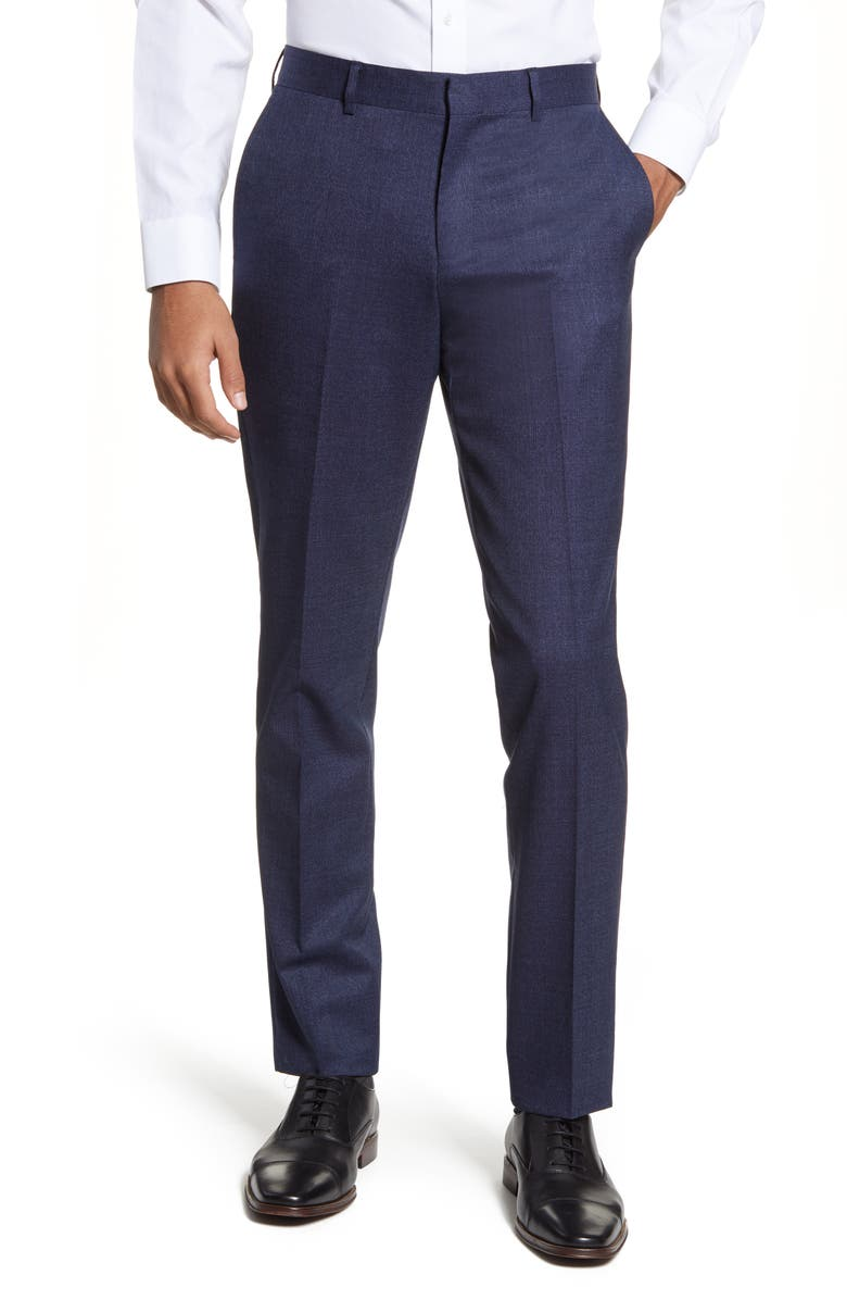 NORDSTROM MEN'S SHOP Flat Front Solid Stretch Wool Dress Pants, Main, color, BLUE NAVY TEXTURE