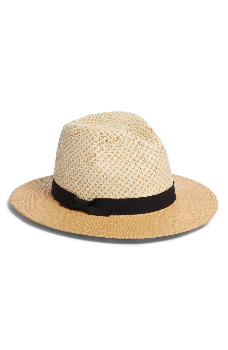SOMETHING NAVY Basket Weave Panama Hat, Main, color, 235