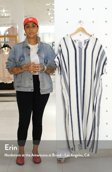 Awning Stripe Cover-Up Caftan Maxi Dress, sales video thumbnail