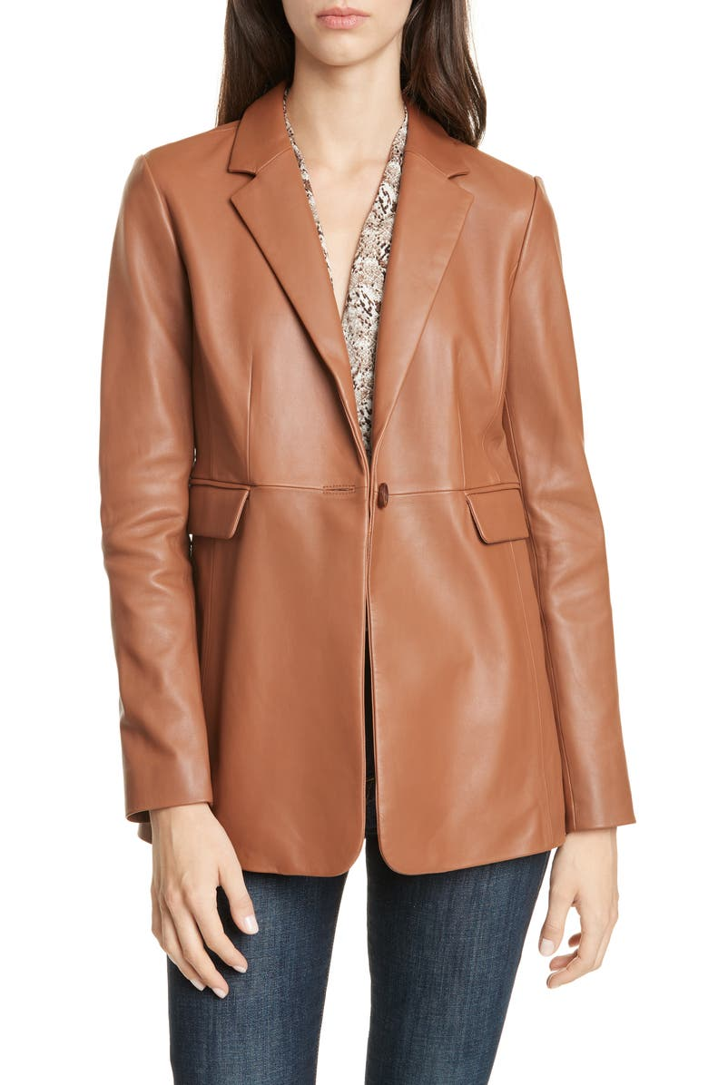 LEWIT Leather Blazer, Main, color, BROWN CAROB