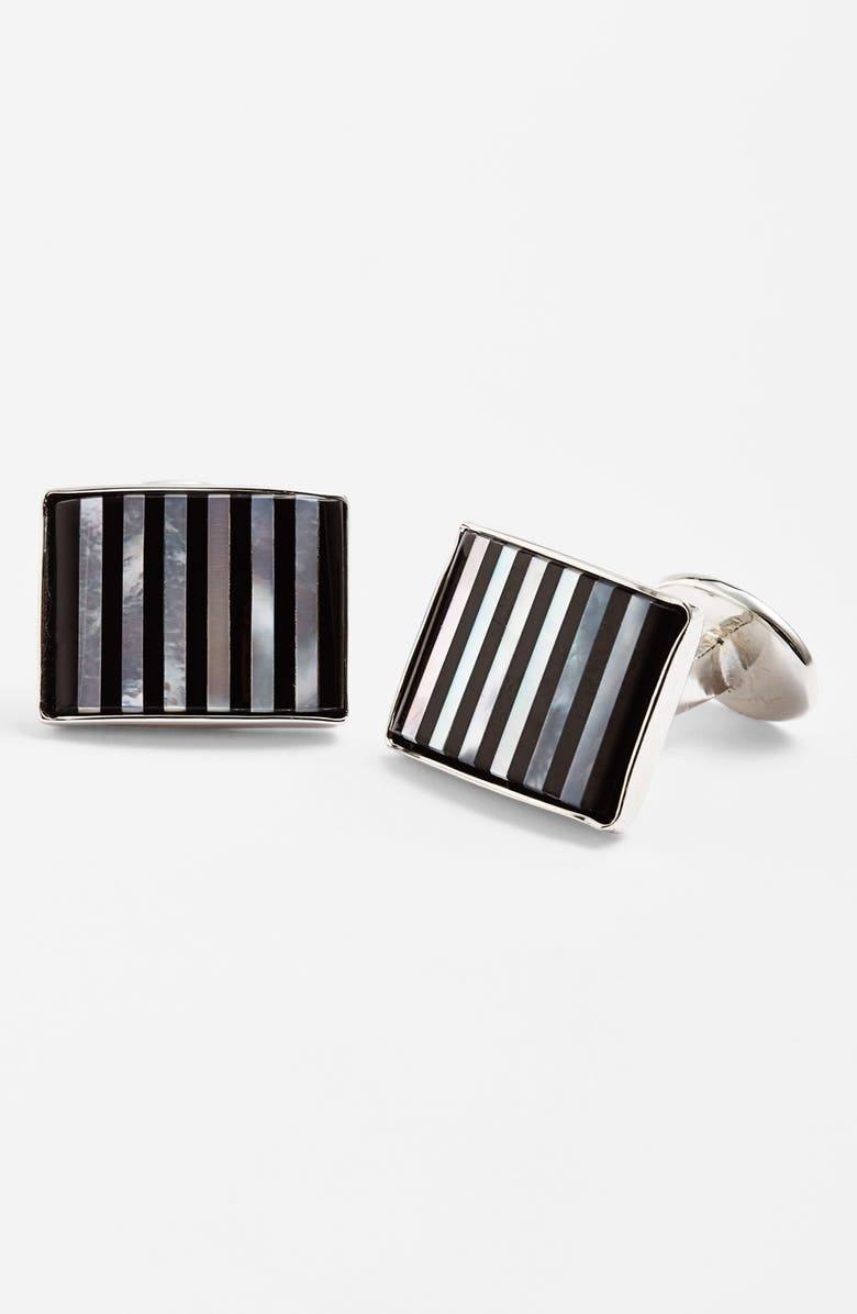DAVID DONAHUE Striped Cuff Links, Main, color, SILVER/ ONYX/ MOTHER OF PEARL