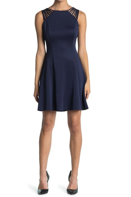 Image of GUESS Fit And Flare Dress With Shoulder Detailing