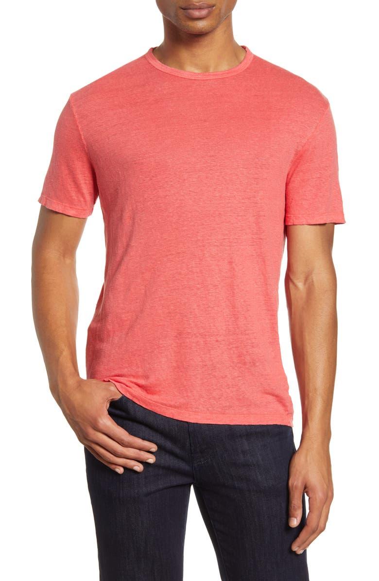 OFFICINE GÉNÉRALE Pigment Dyed Linen T-Shirt, Main, color, FADED RED