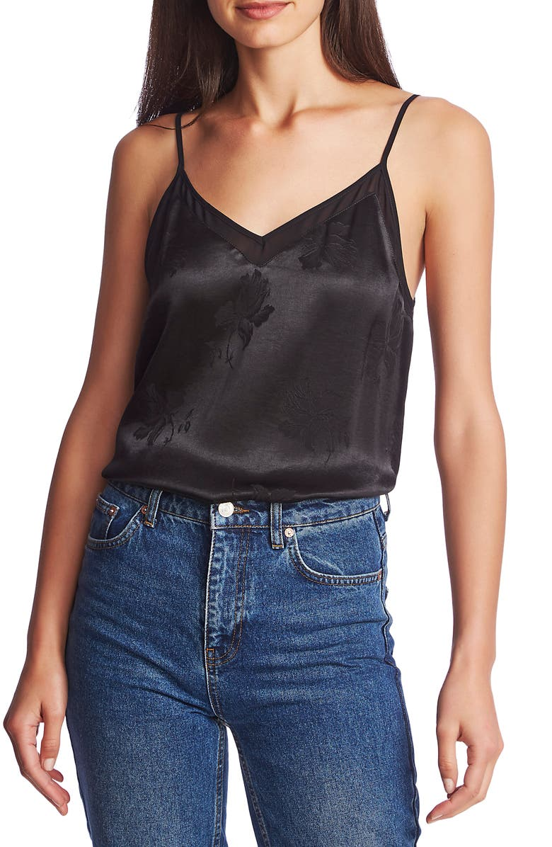 1.STATE Chiffon Inset Floral Jacquard Camisole Top, Main, color, RICH BLACK