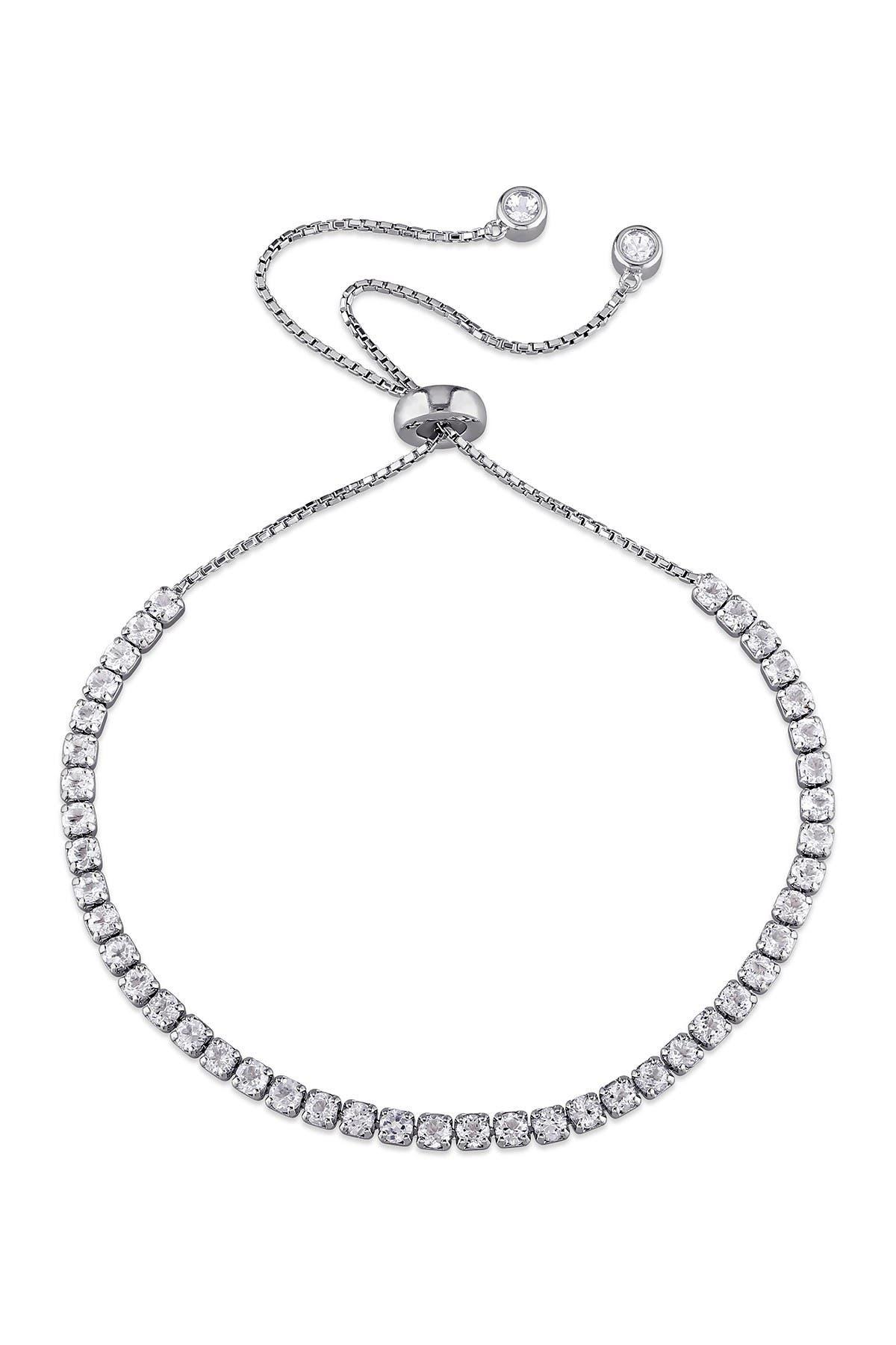 Image of Delmar Sterling Silver White Topaz Adjustable Tassel Bracelet