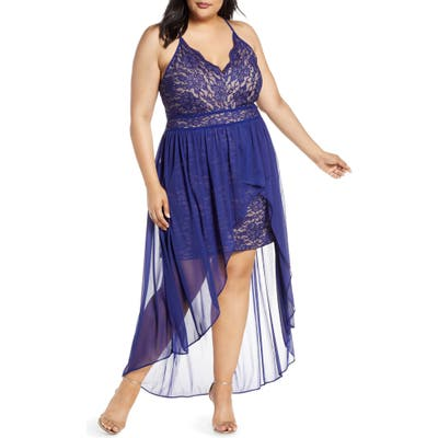 Plus Size Morgan & Co. Scallop Lace Bodice High/low Gown, Blue
