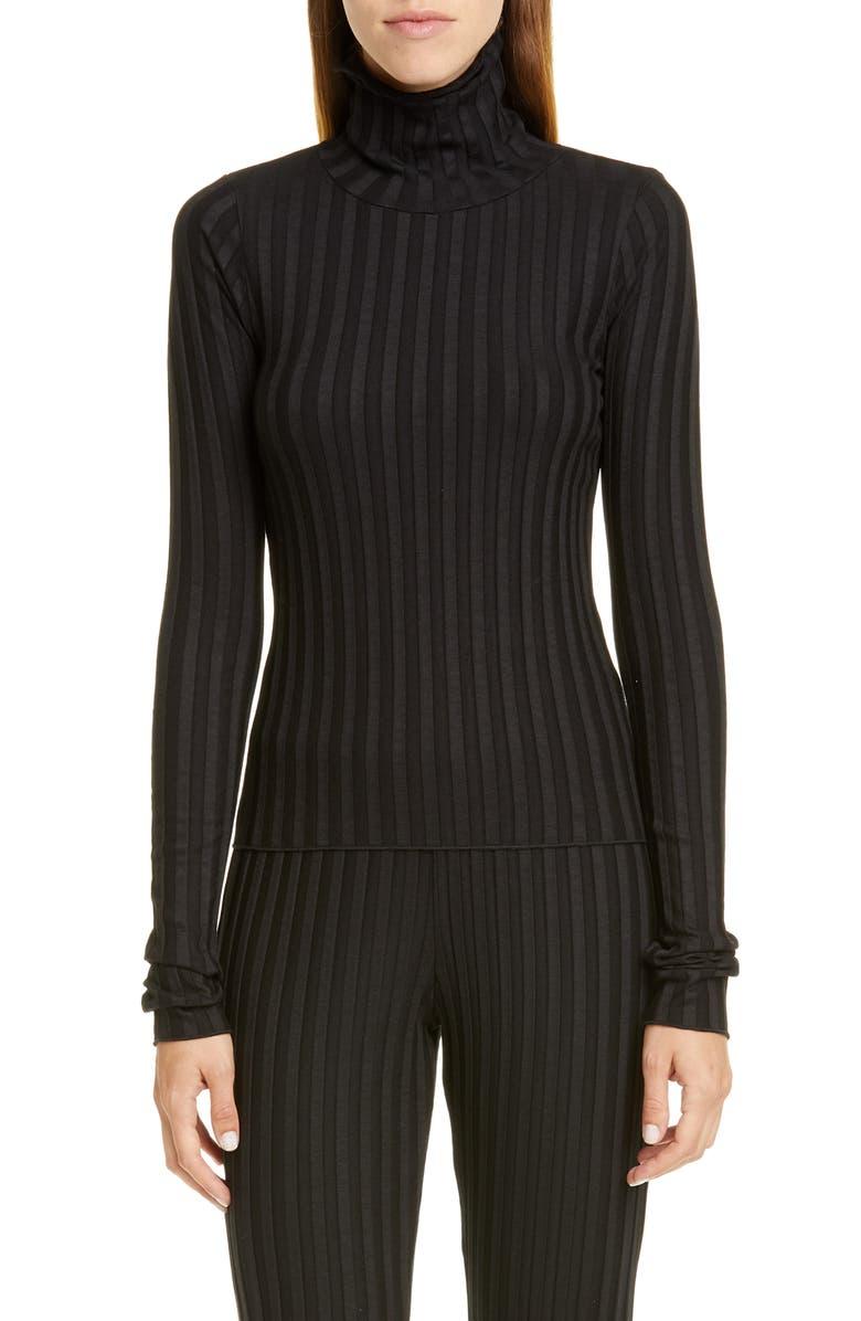 SIMON MILLER Rib Knit Turtleneck, Main, color, BLACK