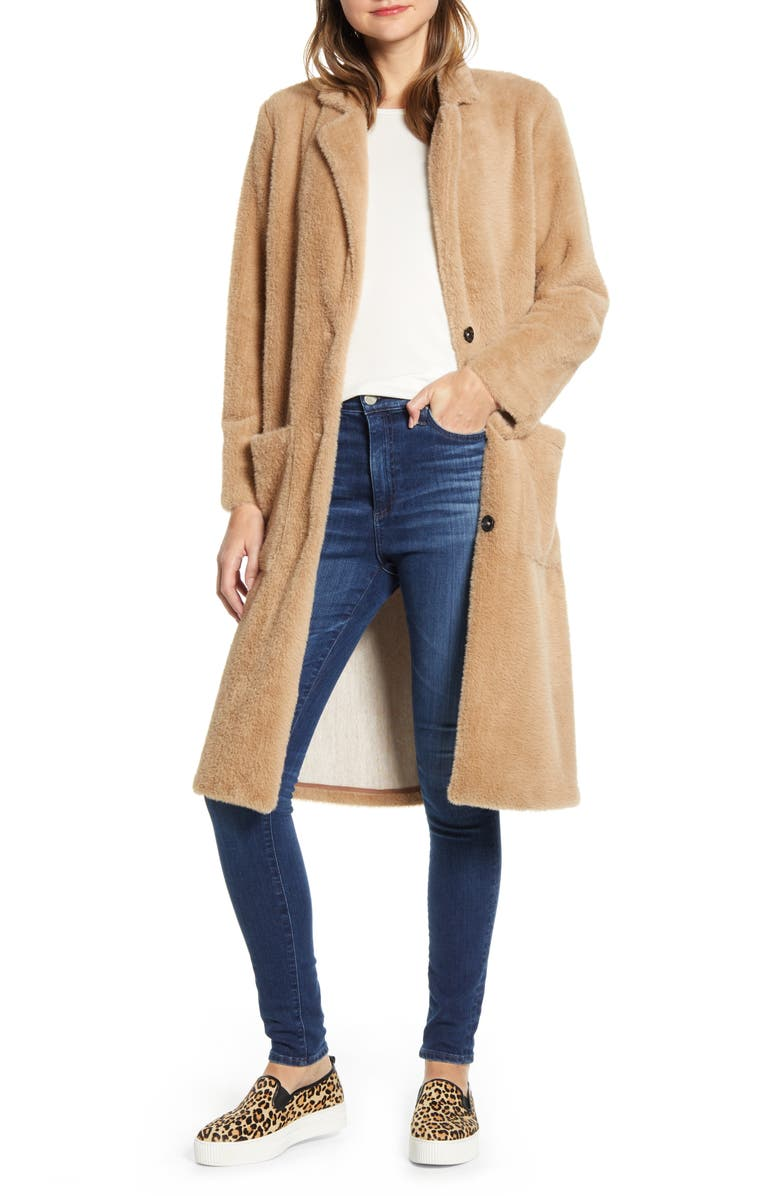 SANCTUARY Soft Touch Faux Fur Duster, Main, color, CASHMERE BEIGE