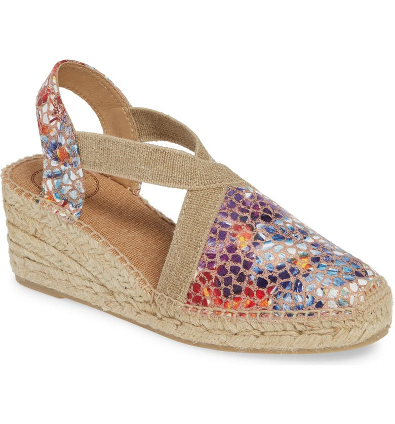 TONI PONS Telva Espadrille Wedge Pump, Main, color, TAUPE PRINTED LEATHER