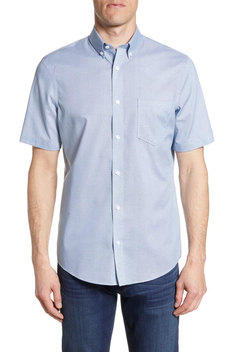 NORDSTROM MEN'S SHOP Nordstrom Mens Shop Regular Fit Non-Iron Short Sleeve Button-Down Shirt, Main, color, BLUE DUSK NEAT GEO