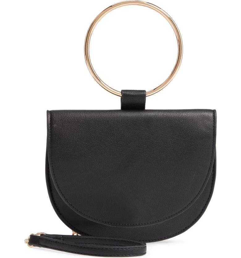 TROUVÉ Reese Faux Leather Ring Crossbody Bag, Main, color, 001