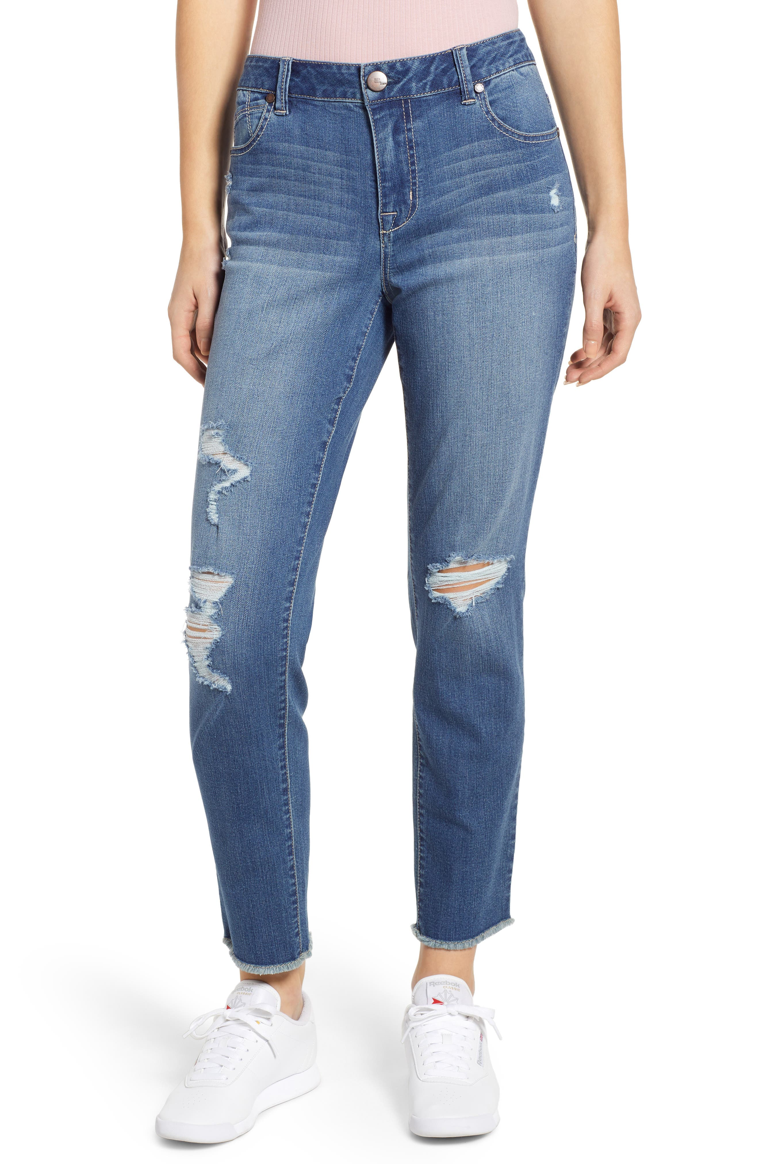 Image of 1822 Denim High Rise Distressed Mom Jeans