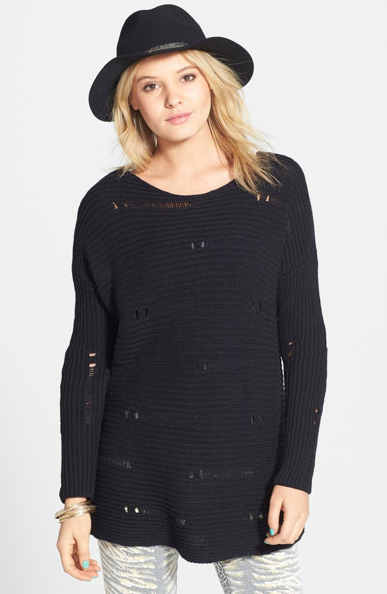 VOLCOM 'Easy Does It' Destroyed Sweater, Main, color, 001