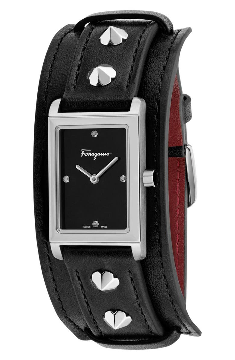 SALVATORE FERRAGAMO Fiore Studs Leather Strap Watch, 34mm, Main, color, BLACK/ SILVER