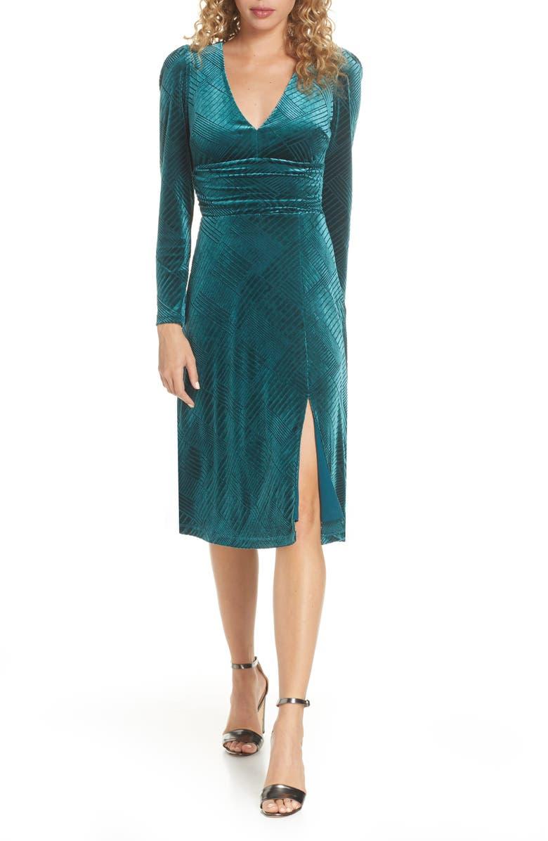 ALI & JAY I'm Nominated Long Sleeve Velvet Dress, Main, color, PEACOCK VELVET