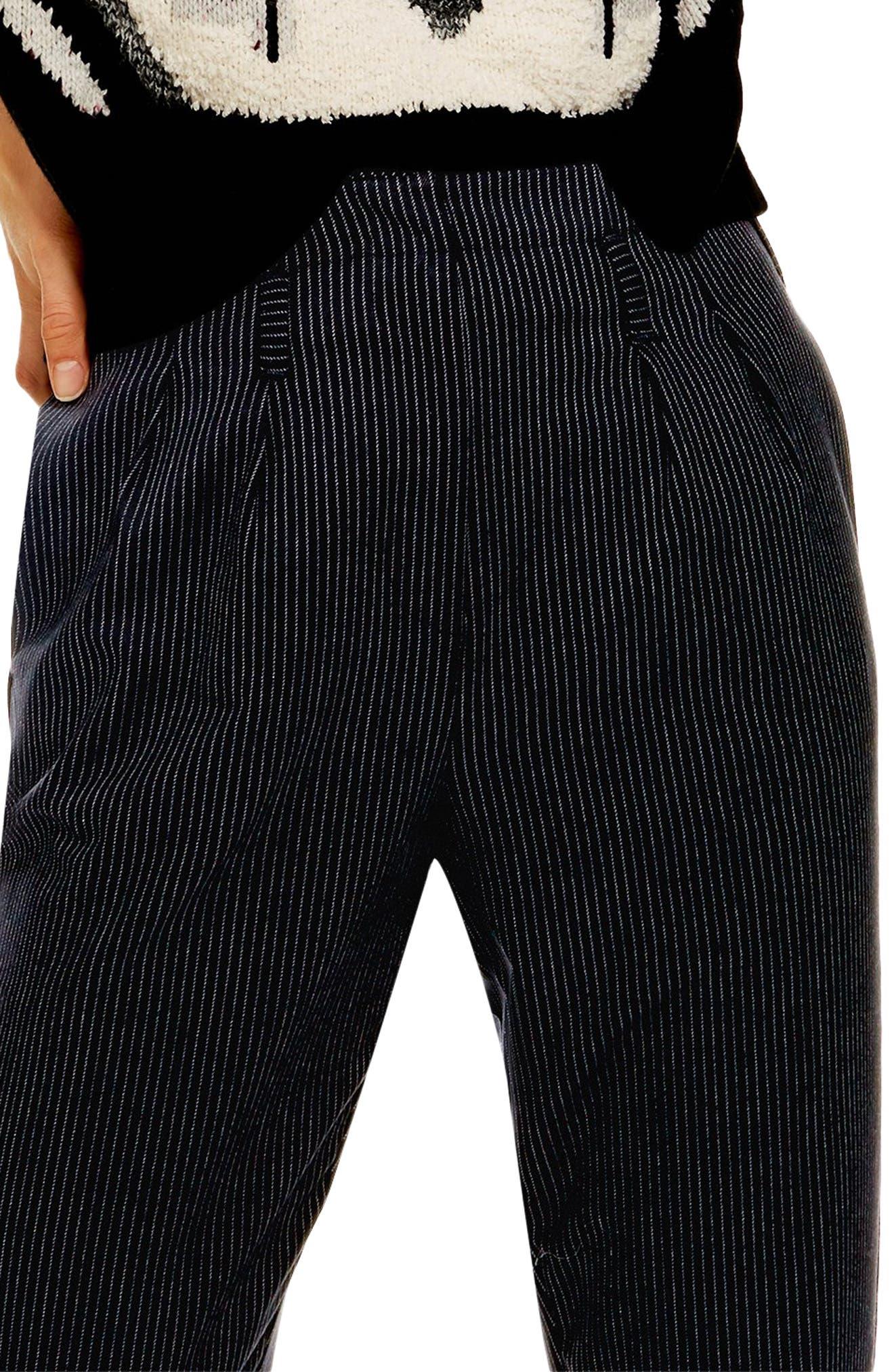 ,                             Pinstripe Trousers,                             Alternate thumbnail 4, color,                             NAVY BLUE
