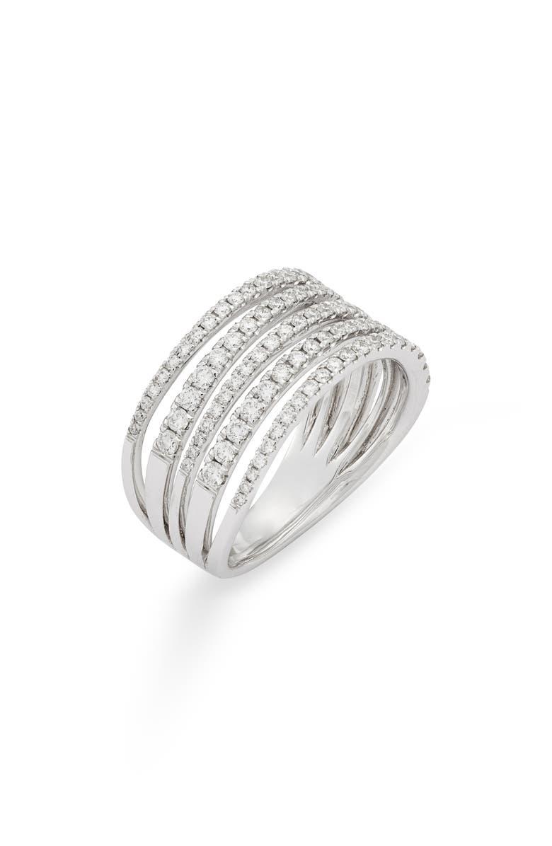 BONY LEVY Monroe Stiletto Multi Row Diamond Band Ring, Main, color, DIAMOND/ WHITE GOLD