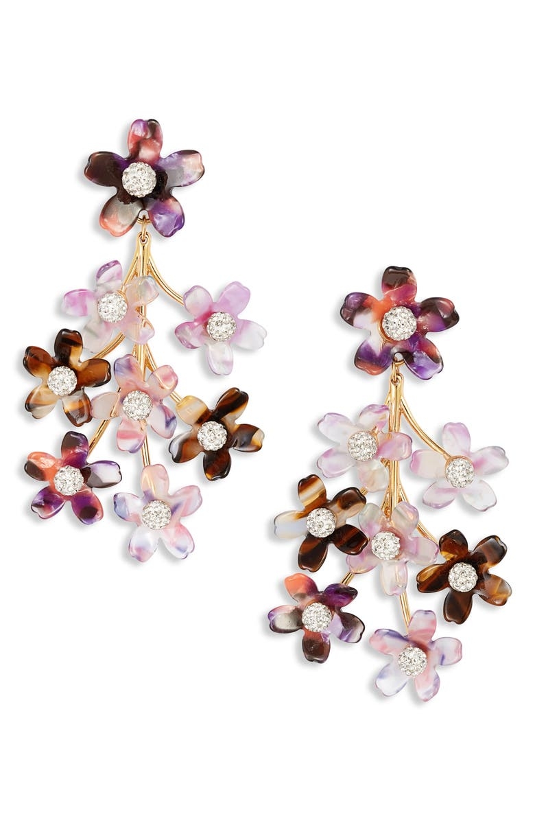 LELE SADOUGHI Garden Bouquet Chandelier Earrings, Main, color, PURPLE MAGIC