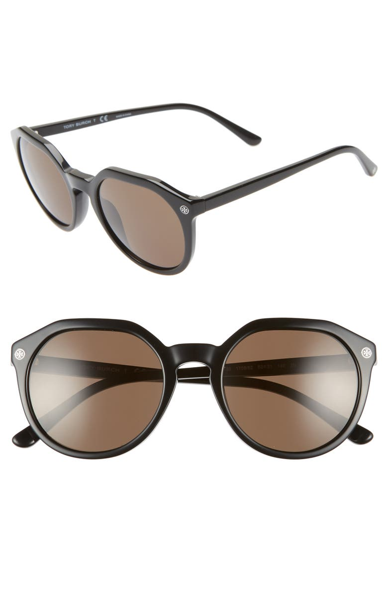 TORY BURCH 52mm Round Sunglasses, Main, color, 001