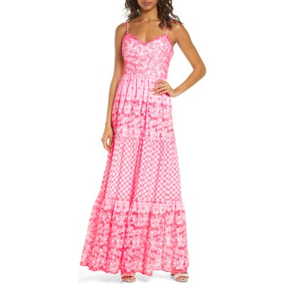 Lily Pulitzer Kyla Embroidered Eyelet Sleeveless Maxi Dress, Pink