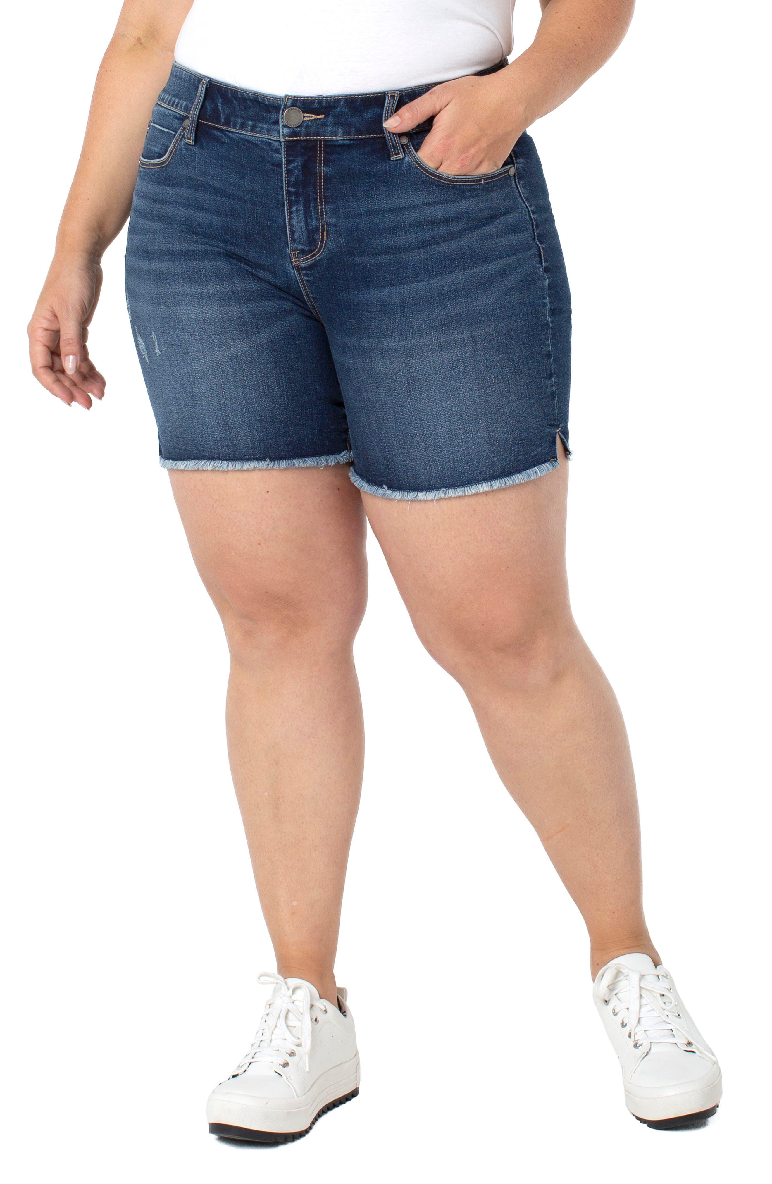 Vickie Fray Hem Denim Shorts
