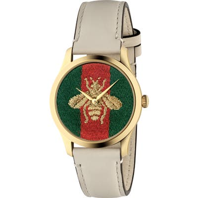 Gucci G-Timeless Bee Leather Strap Watch,