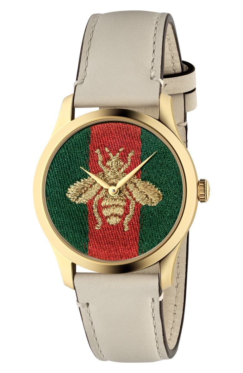 GUCCI G-Timeless Bee Leather Strap Watch, 38mm, Main, color, WHITE/ GREEN/ RED/ GOLD