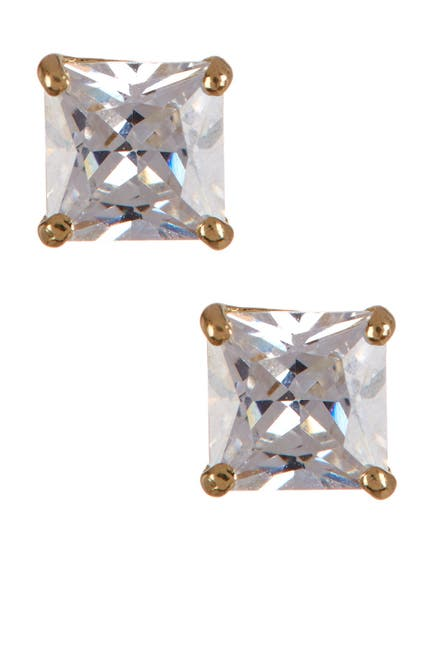 Image of KARAT RUSH 14K Yellow Gold 4.4mm Shiny Princess-Cut CZ Stud Earrings