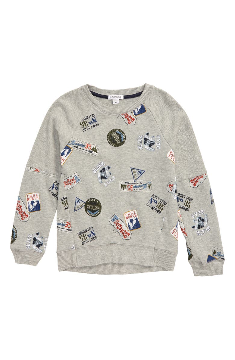FLAPDOODLES Print Sweatshirt, Main, color, HEATHER GREY