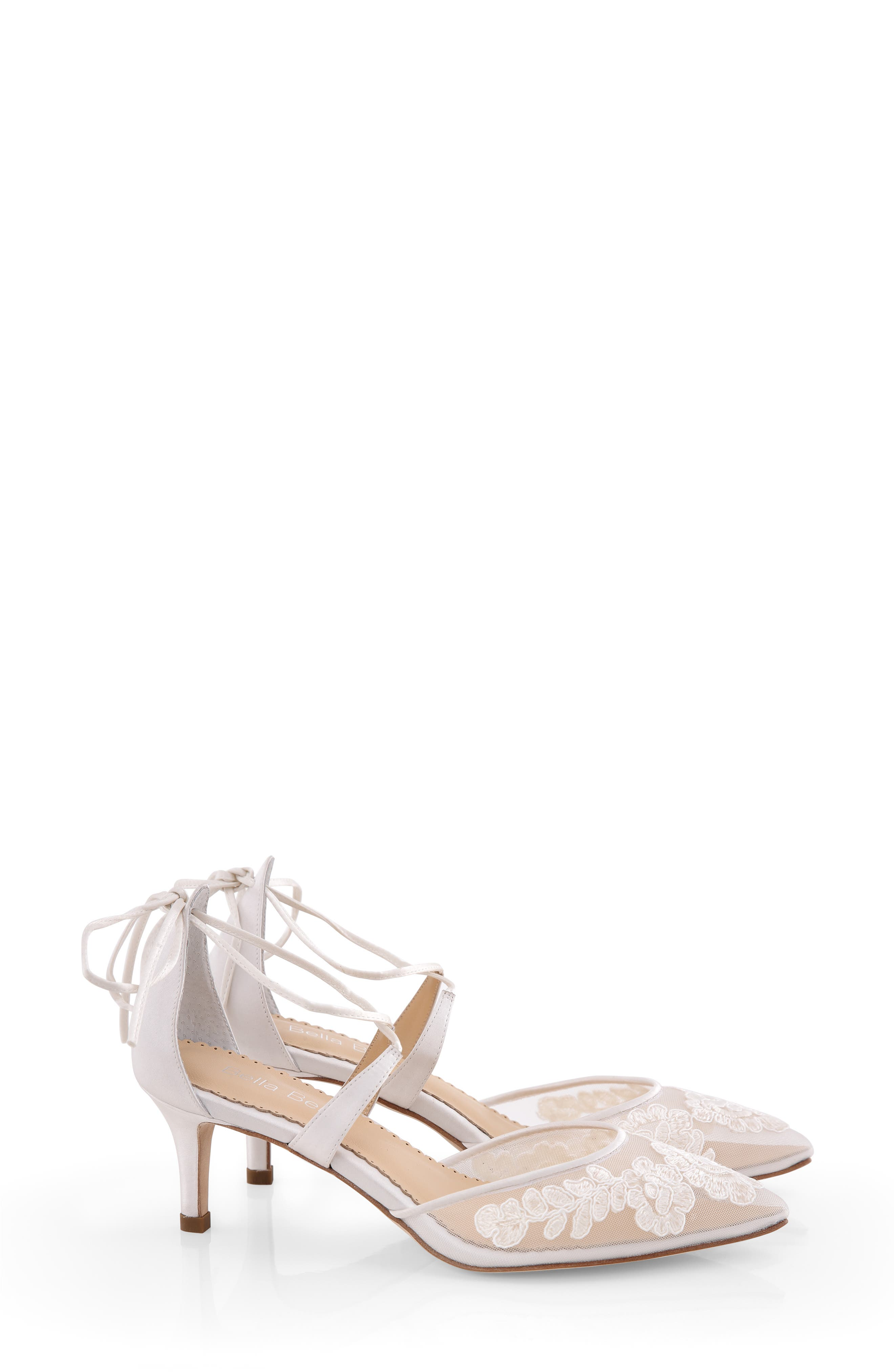 Embroidered Lace Pointed Toe Pump