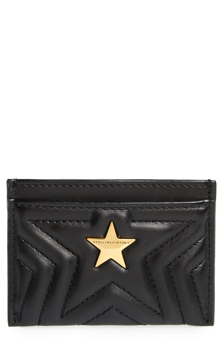 STELLA MCCARTNEY Star Faux Leather Card Case, Main, color, BLACK