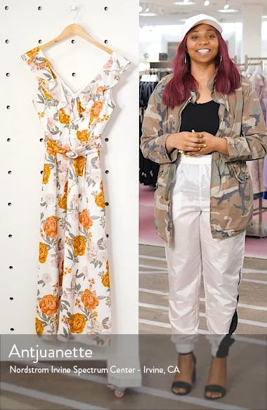 Sage Floral Print Belted Jumpsuit, sales video thumbnail
