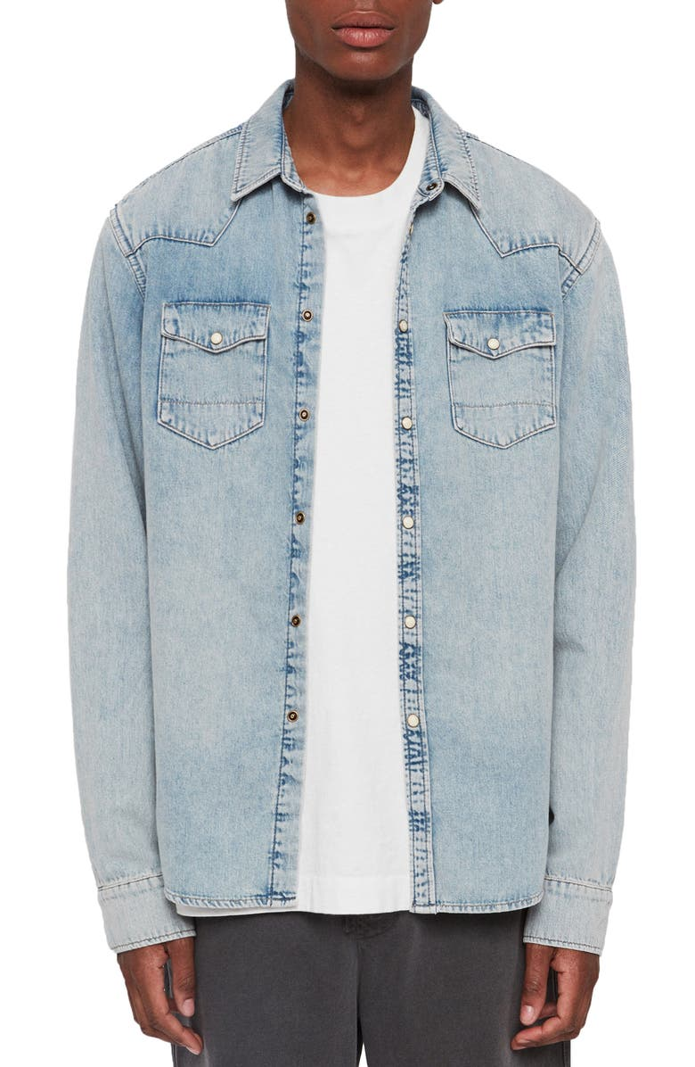 ALLSAINTS Isuka Slim Fit Denim Shirt, Main, color, LIGHT INDIGO BLUE
