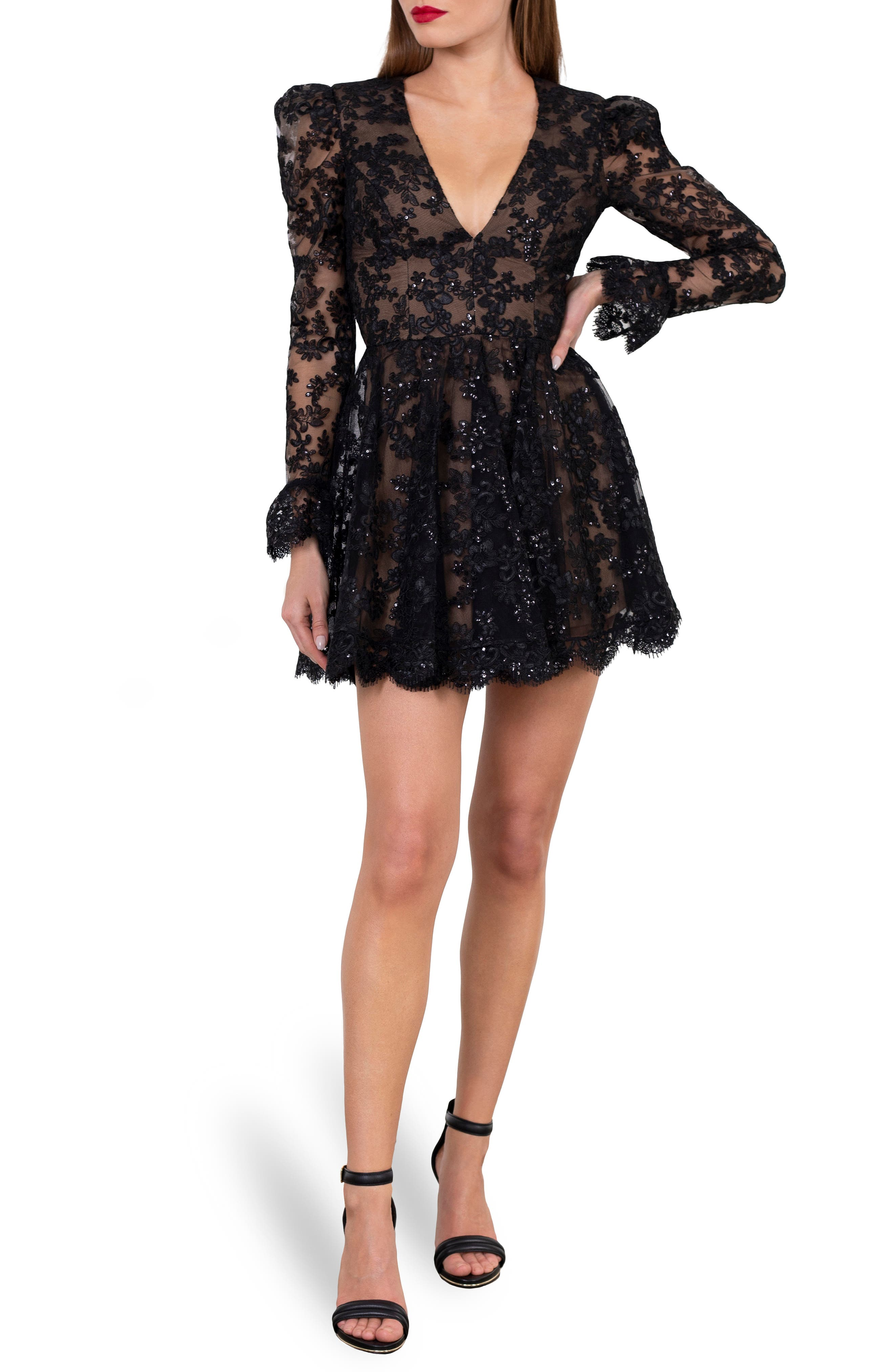Lily Embroidered Sequin Long Sleeve Minidress