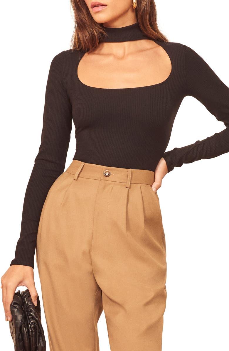 REFORMATION Jem Bodysuit, Main, color, BLACK