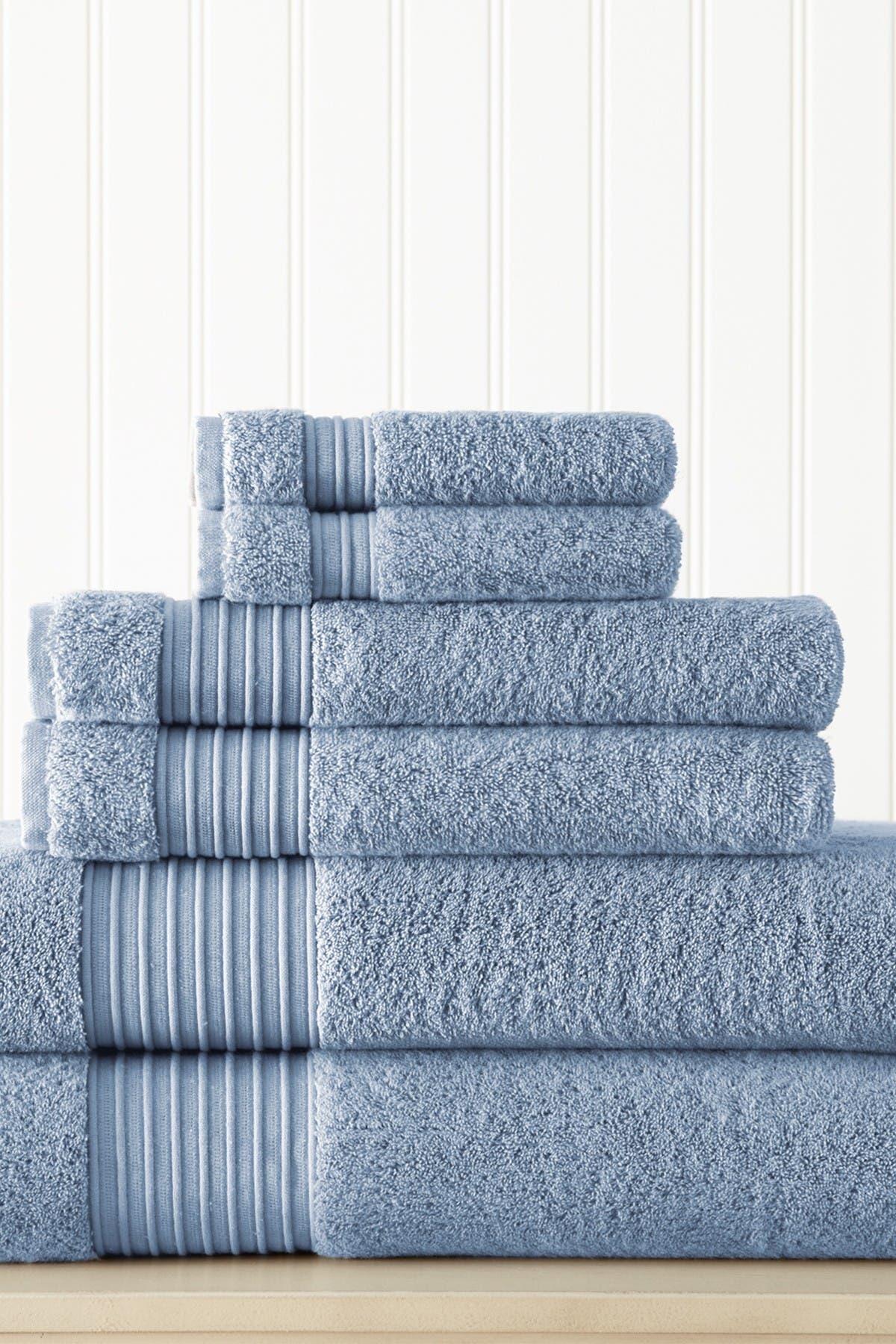 Image of Modern Threads 6-Piece Turkish Cotton Towel Set - Denim