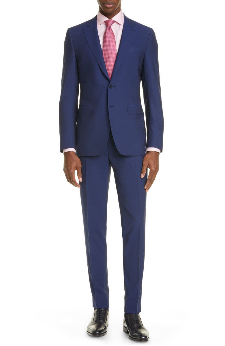 CANALI Milano Classic Fit Solid Wool Suit, Main, color, NAVY
