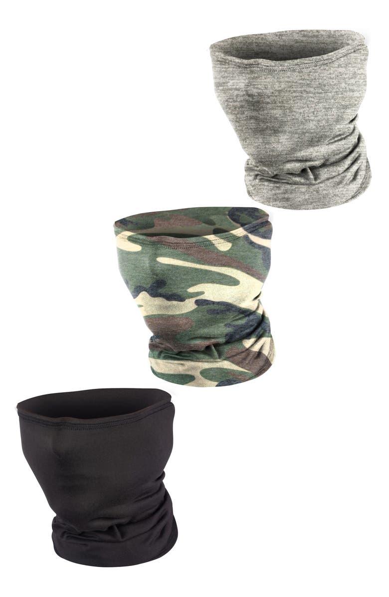 LOVE CHANGES 3-Pack Gaiter Adult Face Masks, Main, color, GRAY/ BLACK/ CAMO