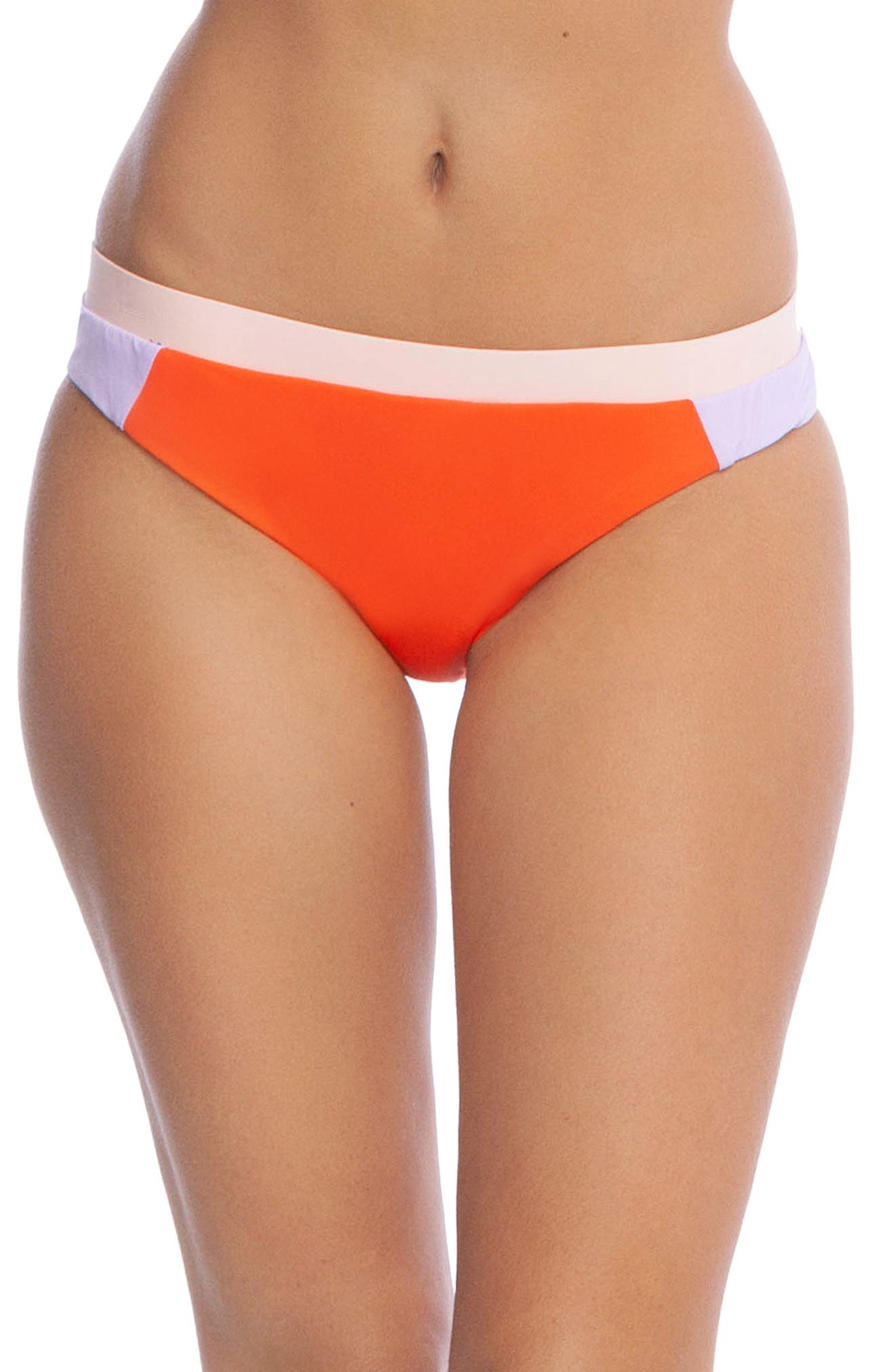 The Bikini Lab Colorblock Hipster Bikini Bottoms, Coral