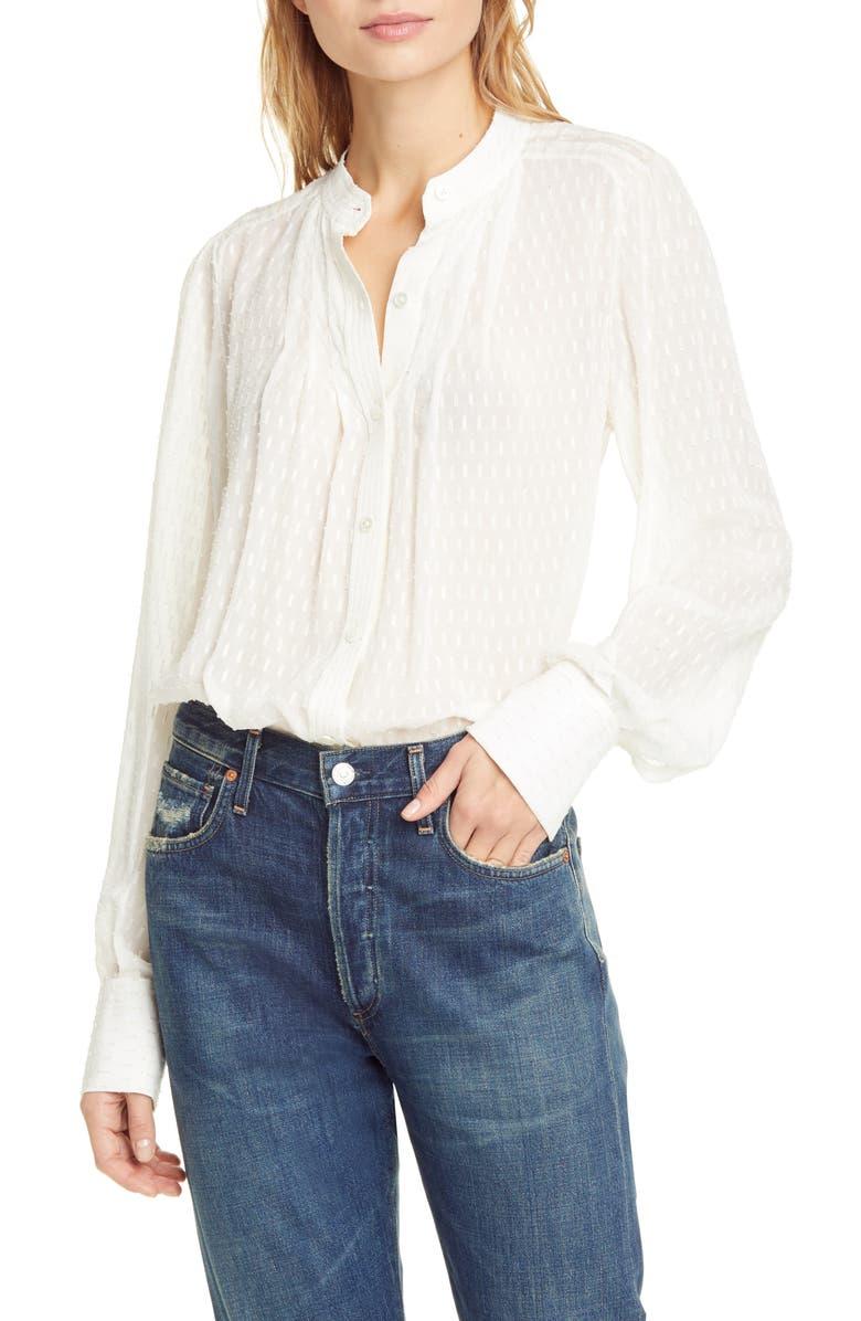 EQUIPMENT Textured Print Silk & Cotton Blend Blouse, Main, color, NATURE WHITE MULTI