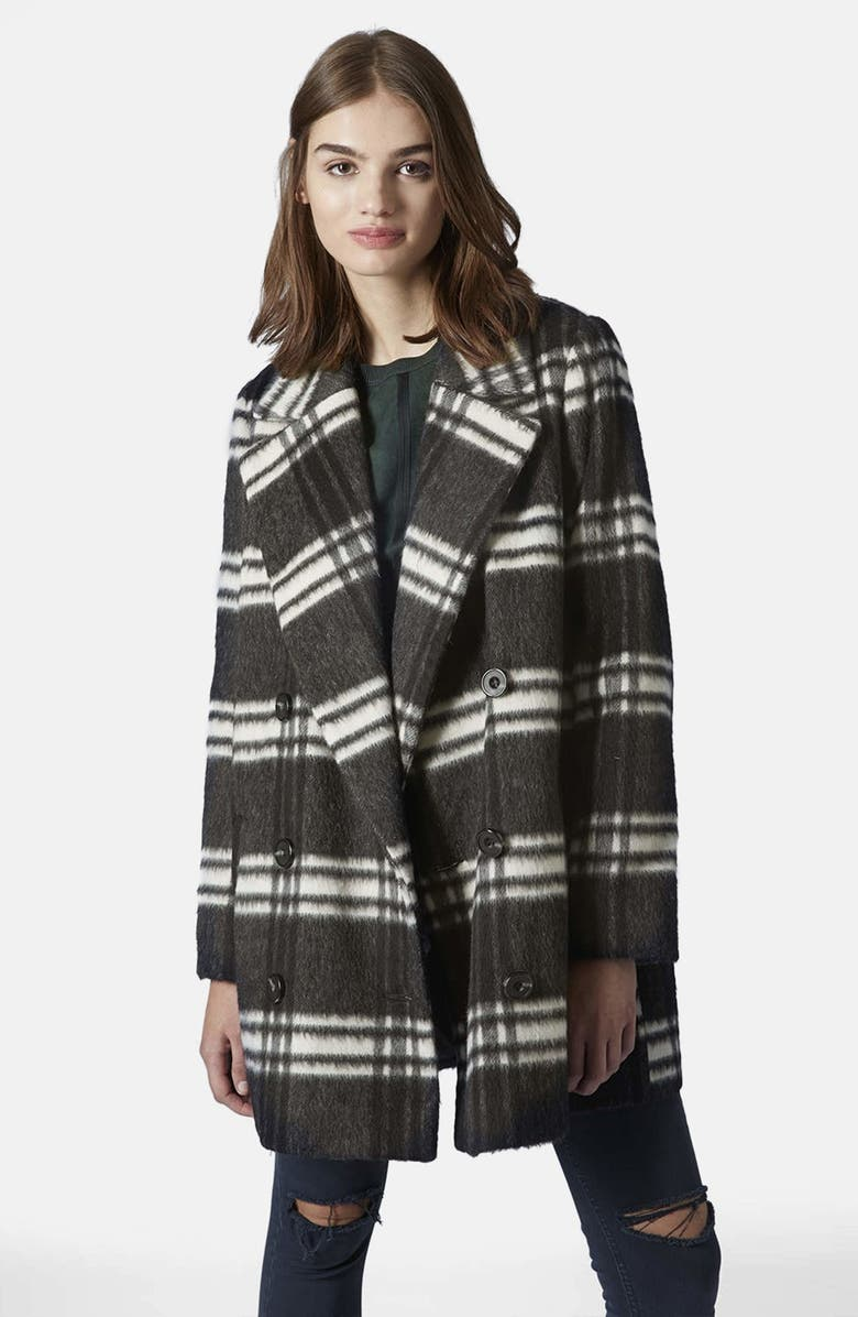 TOPSHOP Double Breasted Pea Coat, Main, color, 020