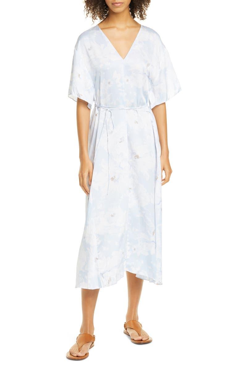 VINCE Painted Magnolia Tie Waist Dress, Main, color, POWDER BLUE
